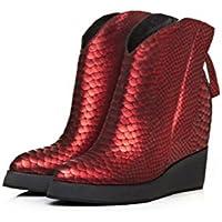 YYH Personalità doppia cerniera pendio con caviglia stivali Plus velluto serpentina modello scarpe da donna in pelle genuino aumentato . red . 37