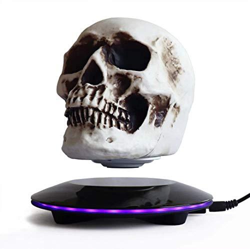 Magnetisches schwebendes Schädel LED Nachtlicht 3D Deko Skulptur mit schwarzer Basis, sich hin-und herbewegendem und 360 Grad Dekoration kreativem Handwerk für Ausgangs/ Festival Dekor