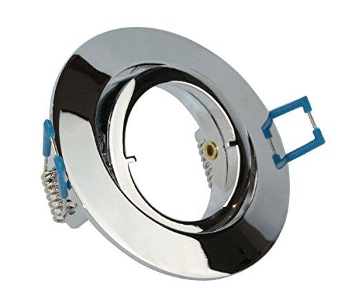 VBLED® Einbaustrahler Einbaurahmen in Chrom Optik glänzend rund schwenkbar inkl. GU10 Fassung für LED oder Halogen Flach mit Schnellverschluss