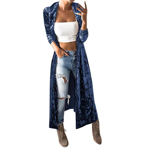 Strickjacke damen Kolylong® Frauen Elegant Samt Lang Strickjacke Mode Frühling Cardigan Langarmshirt Vintage Oversize Mantel Kimono Jacke Outwear Bluse (XL, Blau) (Vintage Schwarzer Samt-blazer)