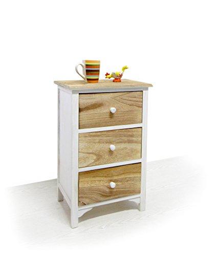 mesita mesilla mesa de noche cajonera 3 cajones marron blanca rustico minimal (Cod. 0-3418)