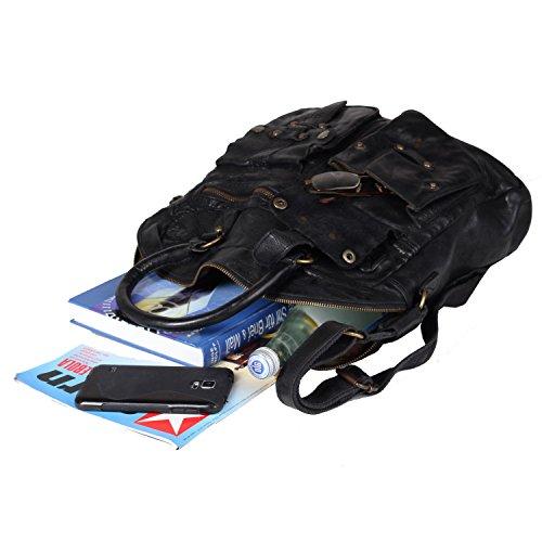 Billy the Kid Daytona Sac à main cuir 33 cm compartiment tablette Black