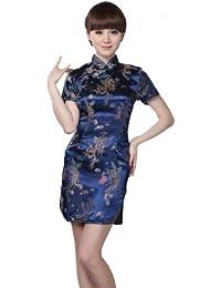 JTC Femme Robe Courte Chinois Cheongsam Motif de Paon et Dragon en Brocart-bleu foncé