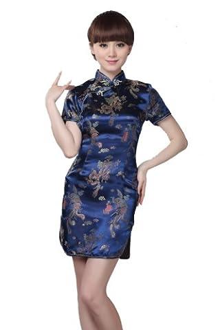 JTC Femme Robe Courte Chinois Cheongsam Motif de Paon et