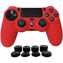 Hikfly Silicona Gel Control de Aceite de Goma Cubierta de Piel Protectora Caso Faceplates Kits para Sony Playstation 4 PS4 / PS4 Slim / PS4 Pro Juegos de Controladores (1x Controlador Cubierta con 8 x FPS Pro Pulgar Tope Tapas)(Rojo)