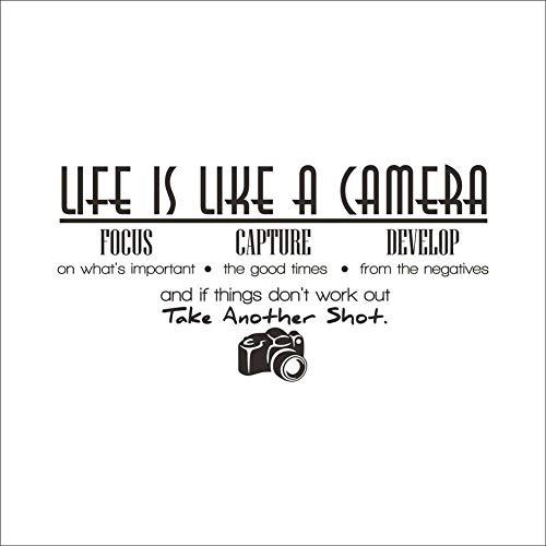 Terilizi Das Leben Ist Wie Eine Kamera Zitat Wandaufkleber Bürozimmer Inspirierende Worte Aufkleber Home Interior Decor Wohnzimmer Wandtattoos 83X42 Cm - Wie Kamera Eine Das Leben Ist