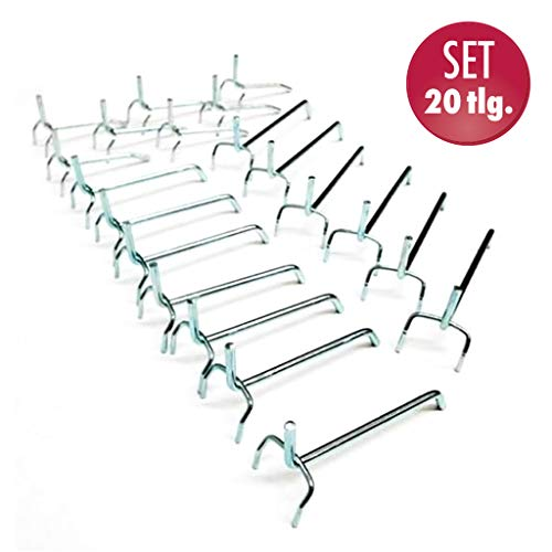 20 teiliges Set Lochwandhaken für eine Werkzeugwand mit Eurolochung