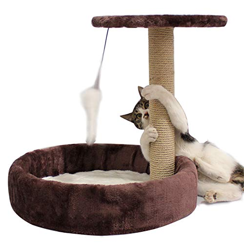 ZZX Katzenmöbel Katzen Spielturm Katzen Aktivitätszentrum mit Sisal Kratzbäume mit Sitzstangen-Plattform Baumelnde Kugel 40 * 40 * 34 cm,Kaffee -
