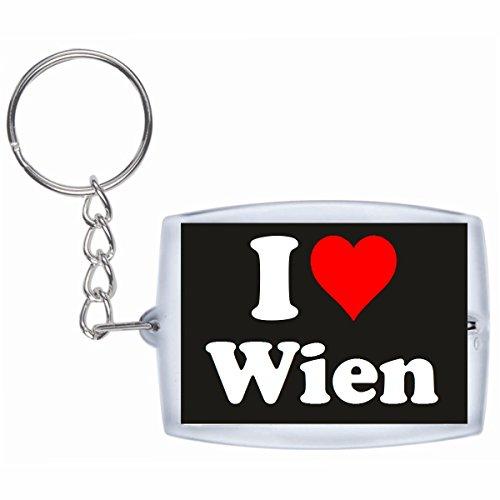 """Preisvergleich Produktbild Exklusive Geschenkidee: Schlüsselanhänger """"I Love Wien"""" in Schwarz, eine tolle Geschenkidee die von Herzen kommt - Rucksackanhänger- Weihnachts Geschenktipp"""