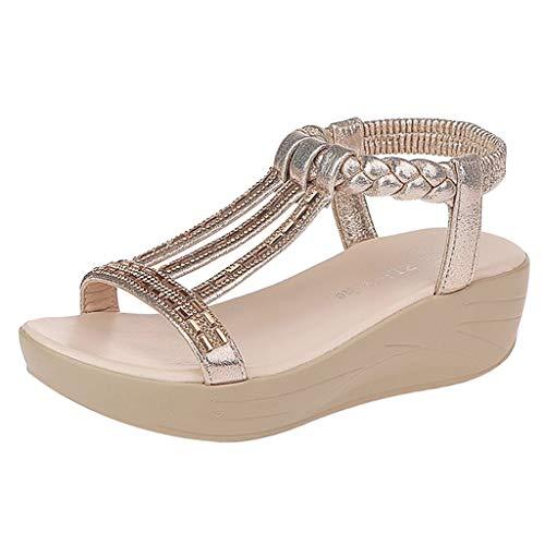 CUTUDE Damen Sandals Sandalen Sommer Bohemian Strass Wedges Sandalen Plattform Römer Peep Toe Sandalen (Gold, 38 EU) Gold Peep Toe Schuhe