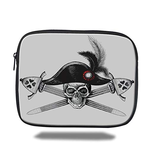 Tablet Bag for Ipad air 2/3/4/mini 9.7 inch,Pirate,Sketchy Skull with Captains Hat and Two Crossed Swords Feathers Danger Death Decorative,Black White Red,Bag (Hat Pirate Velvet)