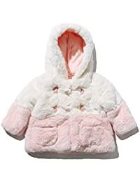 M&Co Baby Girl Long Sleeve Pale Pink and Cream Colour Block Hooded Faux Fur Duffle Coat