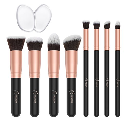 BESTOPE Make-up Pinsel Premium Kosmetik Make-up Pinsel Set Synthetische Kabuki mit 2 Pack Silikon Make-up Schwämme Eyeliner Blush Contour Bürsten für Powder Creme Concealer Pinsel Kit (8 Stück, Rose Gold)