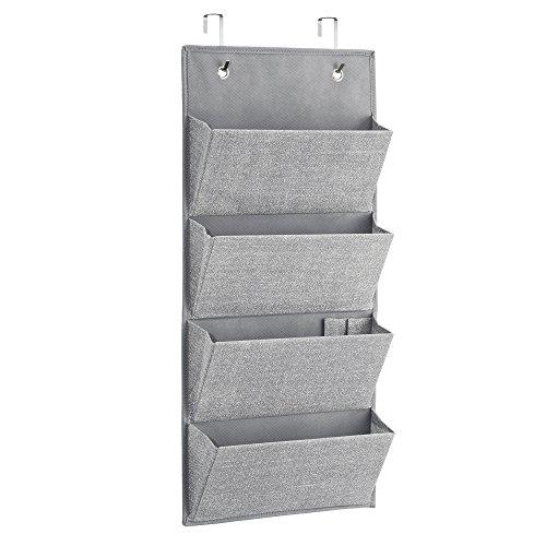 InterDesign 04583EU Aldo Schrank-Organizer aus Stoff zur Wandmontage oder Hängen über die Tür für Handtaschen, grau, 33.02 x 72.39 x 45.6 cm
