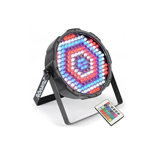 beamZ FlatPAR 186 x 10mm PAR-Strahler LED Scheinwerfer (7-Kanal-DMX-Steuerung, 186 x 10mm RGBW-LEDs, inkl. Infrarot-Fernbedienung, LED-Display, integriertes Mikrofon, Musiksteuerung, eingebaute Programme, zur Wand- und Deckenmontage geeignet)