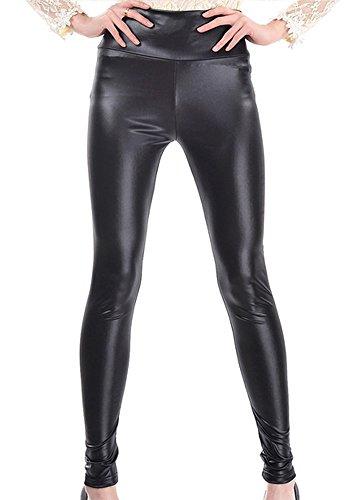 Damen Kunstleder Leder High Waist Leggings Hose Strumpfhosen Treggins Leggins Kunstleder Leggings Leder Look, Glzende Schwarz, L (Lnge 110cm/ Taile 63cm/ Hft 84cm)