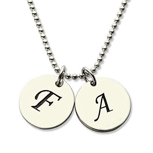 Yanday Personalisierte Alphabet Initial Disc Halskette Mode Herren Dame Halskette(Silber- - Alphabet Kostüme Ideen