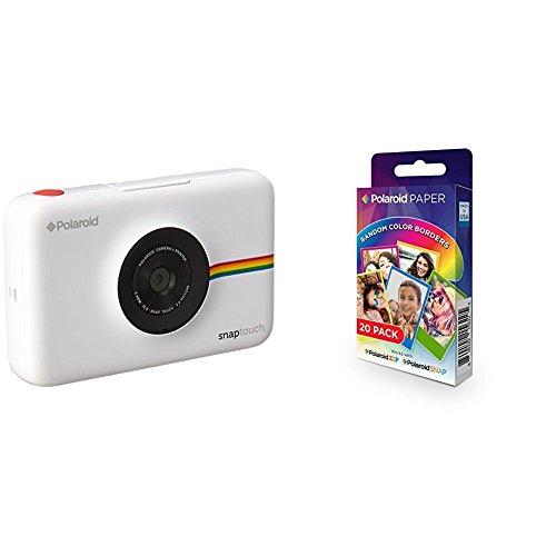 Polaroid Snap Touch cámara digital con impresión instantánea y pantalla LCD (blanco) con tecnología Zero Zink + Polaroid Paper - Paquete de 20 papeles fotográficos (tecnología ZINK Zero Ink, compatibles con Polaroid Snap y Polaroid ZIP, 5 x 7.6 cm), márgenes en colores surtidos