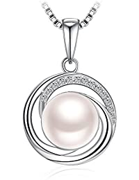 "Pearl Necklace for Women,925 Sterling Silver Freshwater Cultured Pearl Zirconia J.Rosée Jewellery ""Goddess"" Best Gift for Women with Gift Packed"