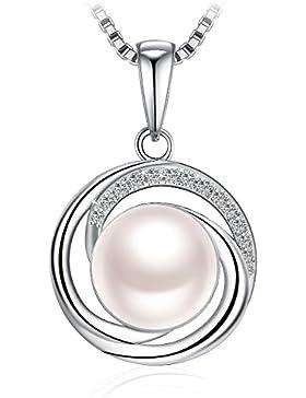 Kette Damen, J.Rosée, 925er Silber, 5A Zirkonia Halskette Anhänger Süßwasserzuchtperle