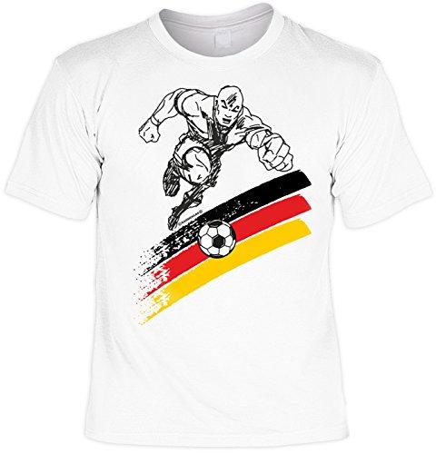 EM SET - T-Shirt mit Kappe: Deutschland, Fußballspieler - Fussballmotiv - Für alle Fußballfans Weiß