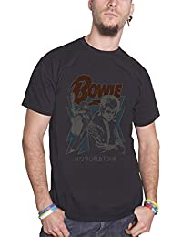 David Bowie T Shirt Distressed 1972 World Tour Affiche Ziggy officiel Homme Noir