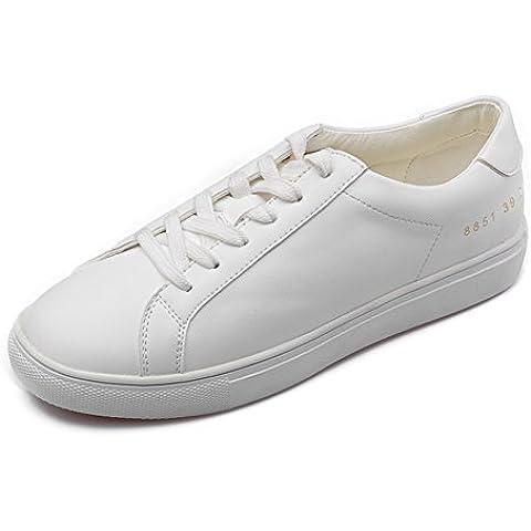 LYF KIU Casuale scarpe piane di cuoio/pizzo scarpe Ms./ piccola scarpa bianca