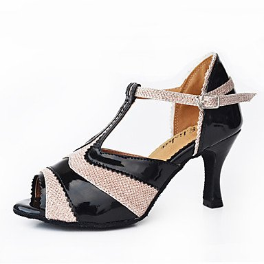 Scarpe da ballo-Personalizzabile-Da donna-Balli latino-americani Moderno Salsa-Tacco su misura-Di pelle Vernice-Nero Fucsia Black