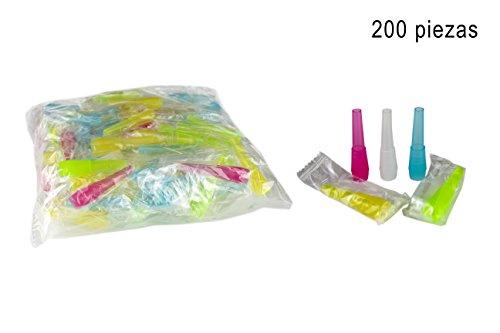 200 unidades de boquillas de higiénicas para cachimba - Boca para manguera de shisha - Envasadas individualmente - Diferentes colores (Largo)