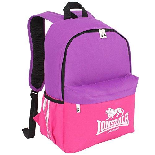 Lonsdale-Mochila, Color Morado/Rosa Bolsillo Bolsa de Deporte Gymbag-Mochila para niños, Morado y Rosa