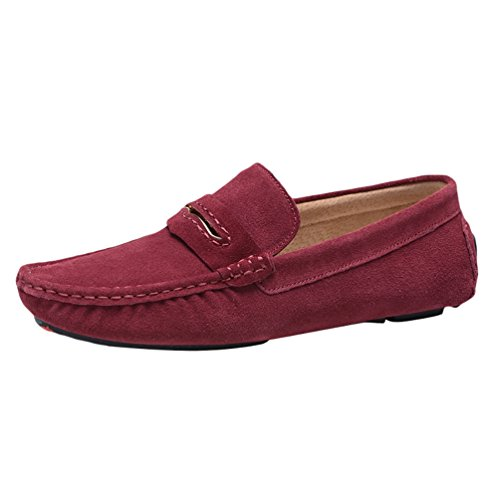 Baymate Homme Moccassins Plats Slip-on Loisirs Loafers Chaussures de Conduite Vin Rouge