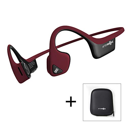 AfterShokz Trekz Air - Écouteurs sans Fil à Conduction Osseuse (Oreilles Libres/Open Ear) Casque Bluetooth pour Sport avec Micro, 2 Étuis de Transport Compris, Rouge