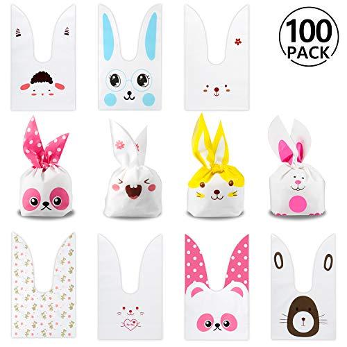 Yosemy Sacchetti compleanno, Sacchetto per Caramella Confetti Borsa di Regalo Sacchetto Coniglietto di Forma del Coniglio Sacchetti di Biscotto (100pcs)