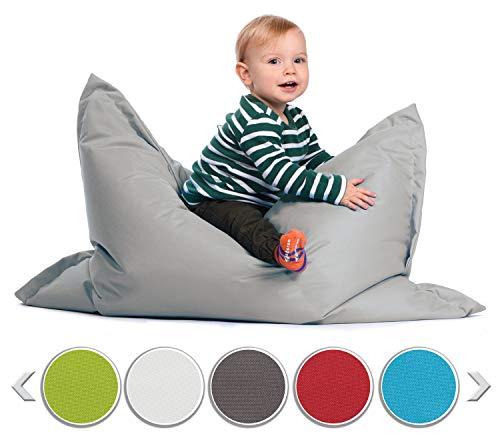 sunnypillow S Sitzsack, Outdoor & Indoor 100 x 70 cm mit 60L Styropor Füllung Sessel für Kinder & Erwachsene Sitzkissen Sofa Beanbag viele Farben und Größen zur Auswahl Grau