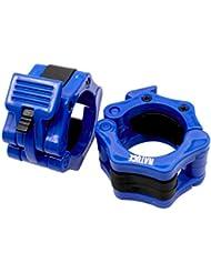 Natuce Barra de pesas olímpico Barra abrazadera ABS Control collares Gran Cruz de la aptitud del entrenamiento (1 par), Estándar / 50mm con mancuernas Haltera 2 pulgadas - Azul