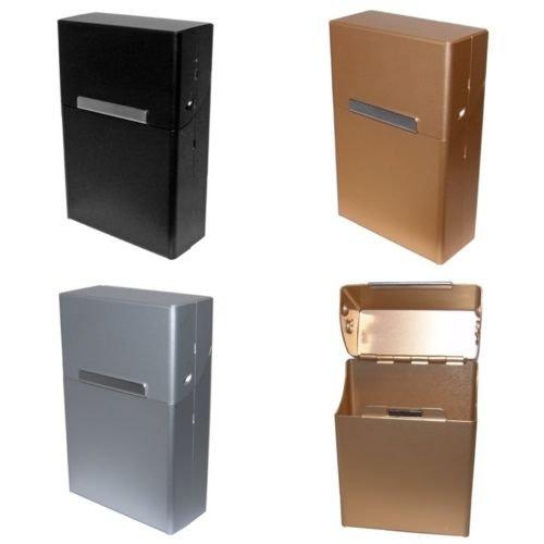 Zigarettenbox Zigarettenetui Alu Edel mit Magnetverschluß wahlweise mit Gravur, Gravur:ohne Gravur;Farbe der Box:Silber