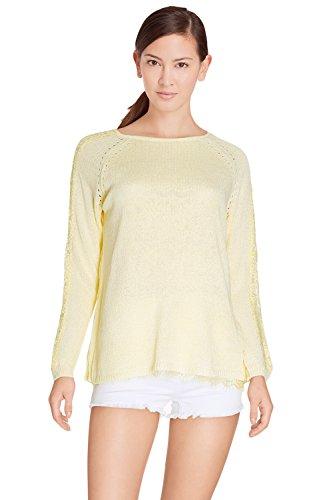 Pullover Damen Feinstrick leicht Öffnung Croisee Rücken Voile Spitze–Ärmel 3/4–ld6987–erhältlich in 5Farben: Weiß Beige Gelb Marineblau Rosa Gr. One size, gelb (Ärmel Voile 3/4)