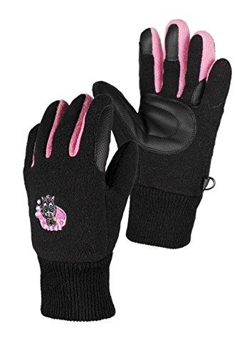 QHP Fleece-Reithandschuhe Flicka Handschuhe Druckmotiv Touchscreennutzung (Junior 2, Schwarz)