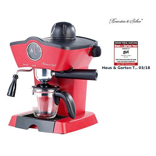 Rosenstein & Söhne Espressomaschine Retro: Dampfdruck-Siebträger-Espressomaschine mit Milchaufschäumer (Espressokocher elektrisch)