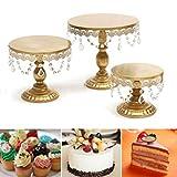 Gaddrt Alzata per Torta Set Tortiera per Cupcake Portacandele per Dessert In Cristallo (Oro) - Mensola In Ferro Battuto + Cristallo -1 per Torta (C)