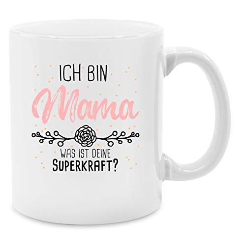 Tasse für Mama - Ich bin Mama was ist deine Superkraft - Unisize - Weiß - Q9061 - Kaffee-Tasse inkl. Geschenk-Verpackung