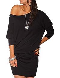 Kleid für Damen, Amlaiworld Womens Long Sleeve aus Schulter Mini Batwing Tunika Kleid