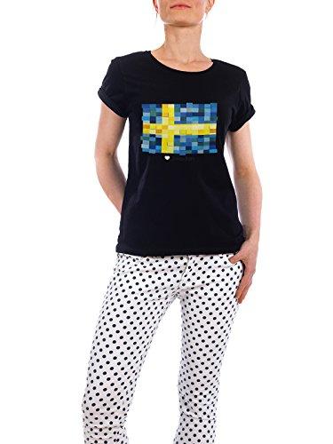 """Design T-Shirt Frauen Earth Positive """"Sweden Flag"""" - stylisches Shirt Reise Reise / Länder von GREENGREENDREAMS Schwarz"""