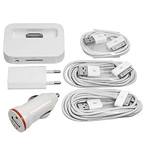 6 en 1 Accessorie Dock station d'accueil + Auto chargeur allume cigare + mural UE + USB Data câbles 1 2 3 mètres pour iPod iPhone 3Gs 4 4S BC4