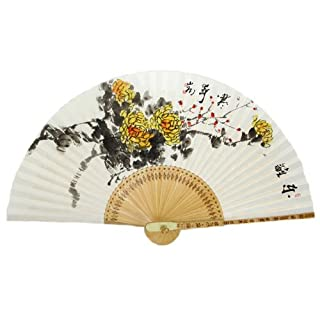 Hand Painted Folding Yellow Chrysanthemum Flower Painting Korean Mulberry Rice White Paper Bamboo Art Wooden Asian Oriental Wall Deco Handheld Decorative Fan