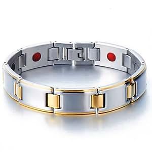 Bioénergie Bracelet Homme en Acier - Quatre Élément avec des Aimants , Germanium, Ion Négatif et Infrarouge lointain