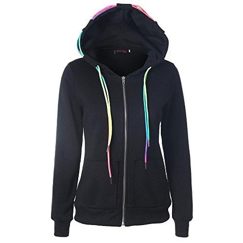 odie Sweatshirt mit Kapuze Mantel Zipper Jacke(S,Schwarz) ()