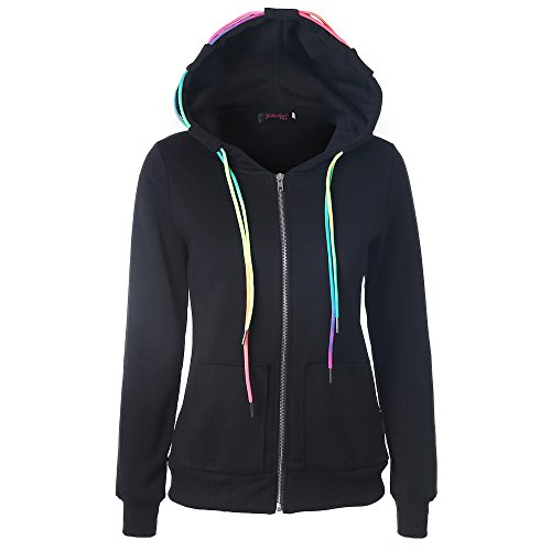 ESAILQ Mode Damen Hoodie Sweatshirt mit Kapuze Mantel Zipper Jacke(S,Schwarz)