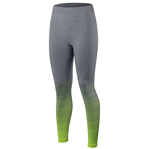ESHOO Pantalons de sports course à pied Fitness Gym compression Legging Vert