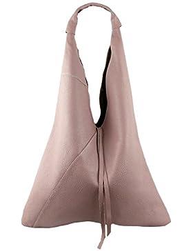 Damen Echtleder Shopper Trapez in vielen Farben und Metallic Schultertasche Henkeltasche